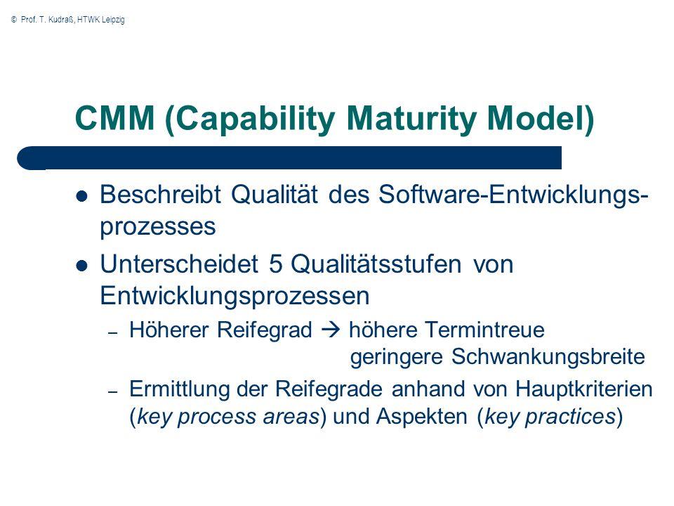 © Prof. T. Kudraß, HTWK Leipzig CMM (Capability Maturity Model) Beschreibt Qualität des Software-Entwicklungs- prozesses Unterscheidet 5 Qualitätsstuf