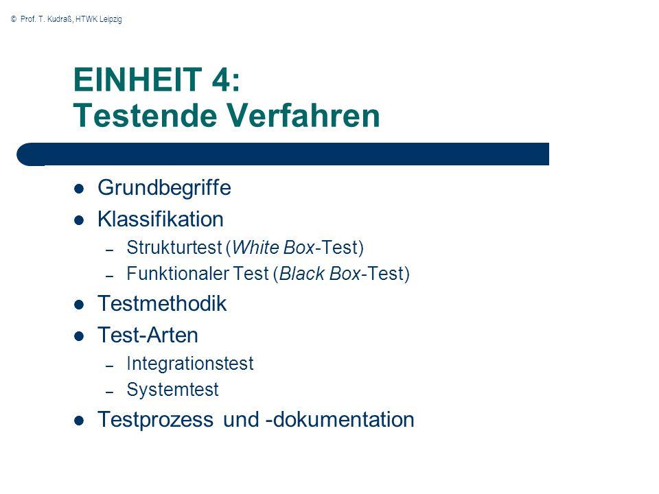 © Prof. T. Kudraß, HTWK Leipzig EINHEIT 4: Testende Verfahren Grundbegriffe Klassifikation – Strukturtest (White Box-Test) – Funktionaler Test (Black