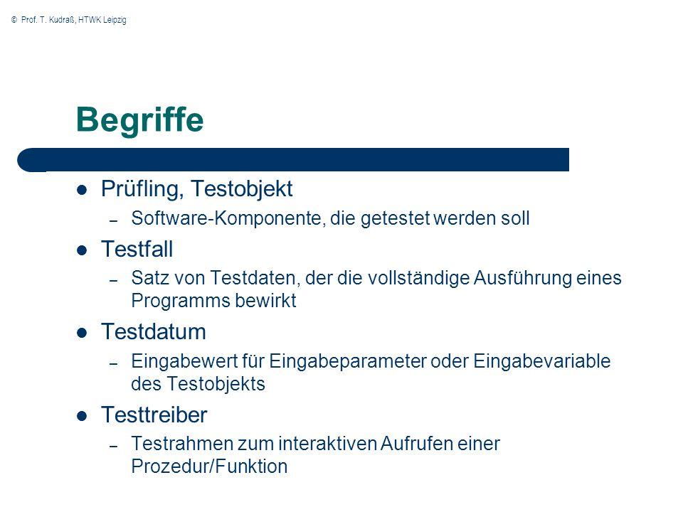© Prof. T. Kudraß, HTWK Leipzig Begriffe Prüfling, Testobjekt – Software-Komponente, die getestet werden soll Testfall – Satz von Testdaten, der die v