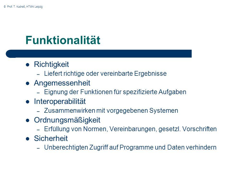 © Prof. T. Kudraß, HTWK Leipzig Funktionalität Richtigkeit – Liefert richtige oder vereinbarte Ergebnisse Angemessenheit – Eignung der Funktionen für