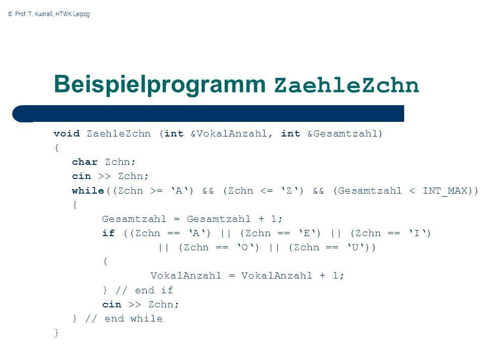 © Prof. T. Kudraß, HTWK Leipzig Beispielprogramm ZaehleZchn void ZaehleZchn (int &VokalAnzahl, int &Gesamtzahl) { char Zchn; cin >> Zchn; while((Zchn