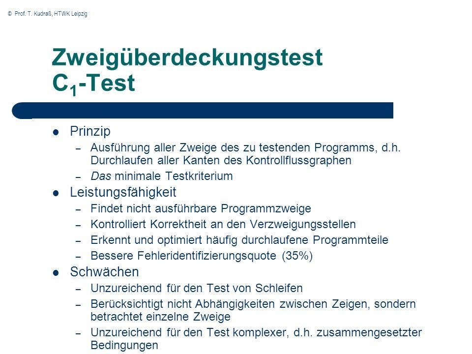 © Prof. T. Kudraß, HTWK Leipzig Zweigüberdeckungstest C 1 -Test Prinzip – Ausführung aller Zweige des zu testenden Programms, d.h. Durchlaufen aller K
