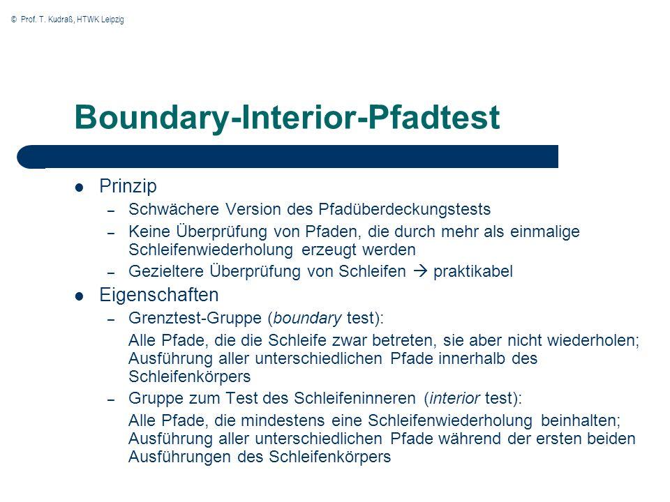 © Prof. T. Kudraß, HTWK Leipzig Boundary-Interior-Pfadtest Prinzip – Schwächere Version des Pfadüberdeckungstests – Keine Überprüfung von Pfaden, die