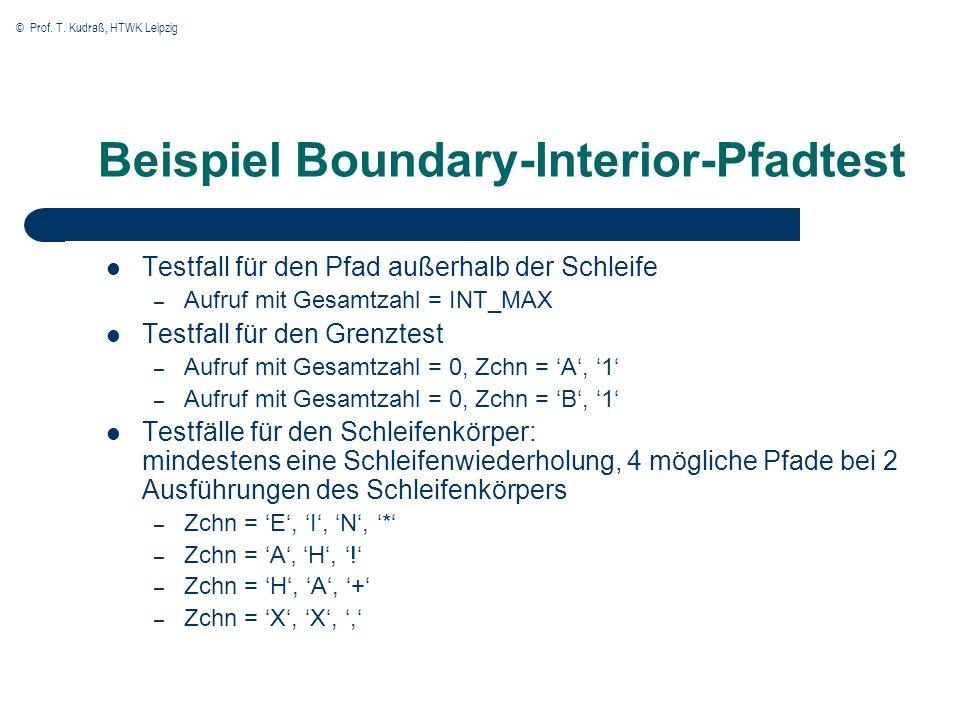 © Prof. T. Kudraß, HTWK Leipzig Testfall für den Pfad außerhalb der Schleife – Aufruf mit Gesamtzahl = INT_MAX Testfall für den Grenztest – Aufruf mit