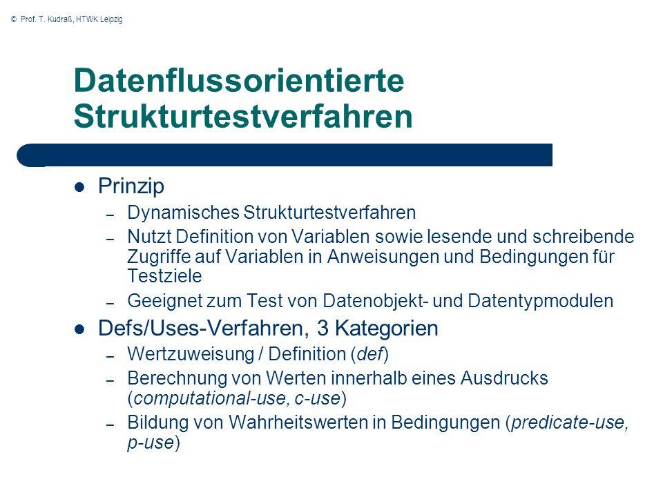 © Prof. T. Kudraß, HTWK Leipzig Datenflussorientierte Strukturtestverfahren Prinzip – Dynamisches Strukturtestverfahren – Nutzt Definition von Variabl
