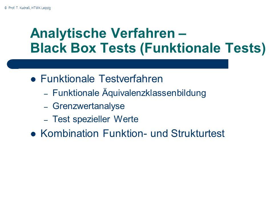 © Prof. T. Kudraß, HTWK Leipzig Analytische Verfahren – Black Box Tests (Funktionale Tests) Funktionale Testverfahren – Funktionale Äquivalenzklassenb