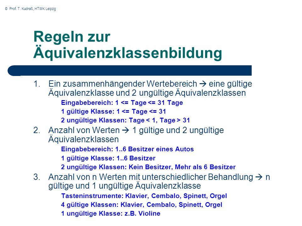 © Prof. T. Kudraß, HTWK Leipzig Regeln zur Äquivalenzklassenbildung 1.Ein zusammenhängender Wertebereich eine gültige Äquivalenzklasse und 2 ungültige