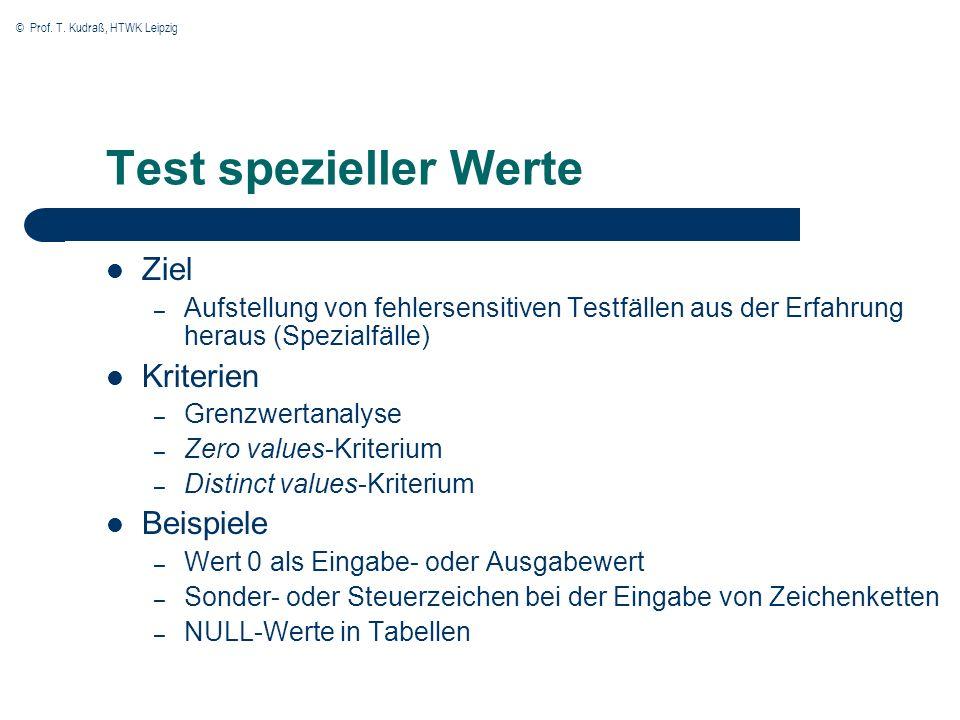 © Prof. T. Kudraß, HTWK Leipzig Test spezieller Werte Ziel – Aufstellung von fehlersensitiven Testfällen aus der Erfahrung heraus (Spezialfälle) Krite