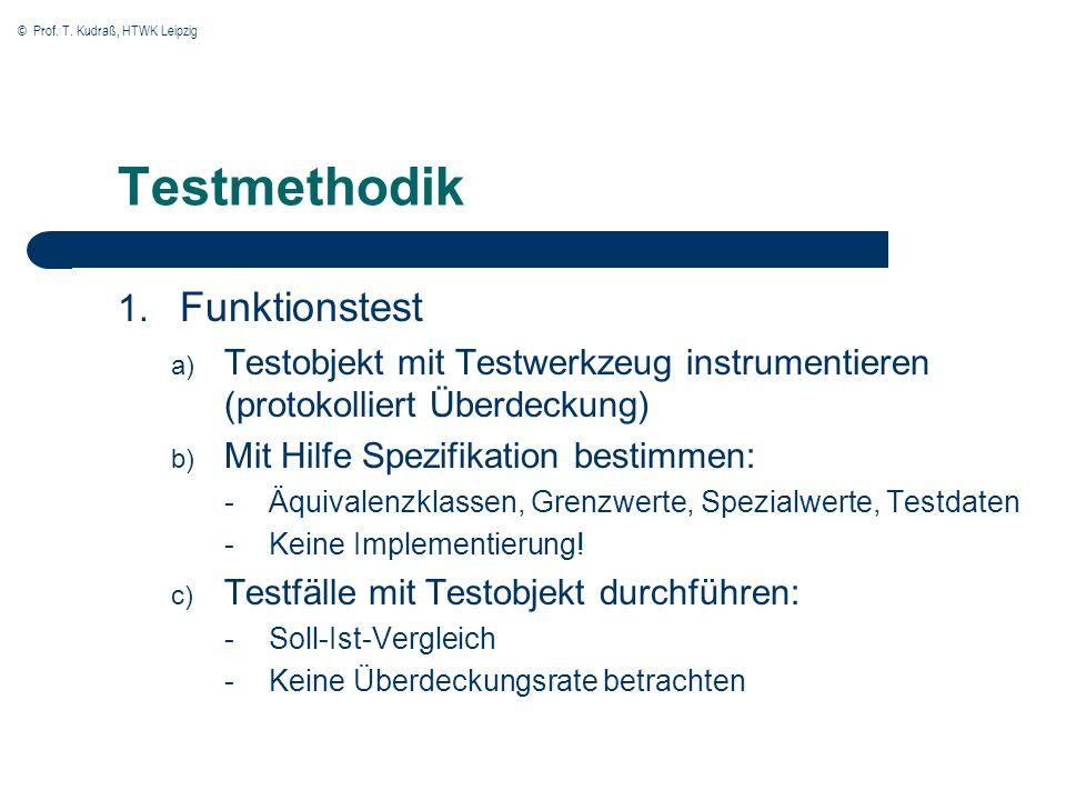 © Prof. T. Kudraß, HTWK Leipzig Testmethodik 1. Funktionstest a) Testobjekt mit Testwerkzeug instrumentieren (protokolliert Überdeckung) b) Mit Hilfe