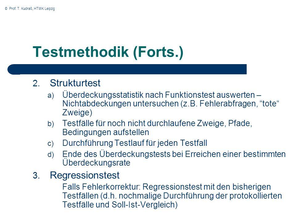 © Prof. T. Kudraß, HTWK Leipzig Testmethodik (Forts.) 2. Strukturtest a) Überdeckungsstatistik nach Funktionstest auswerten – Nichtabdeckungen untersu