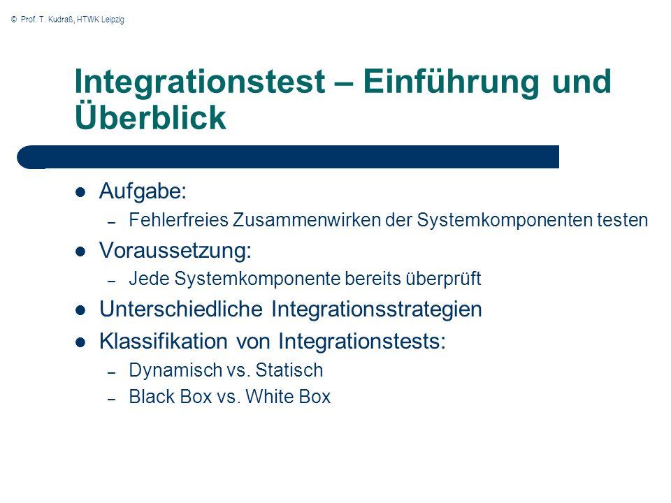 © Prof. T. Kudraß, HTWK Leipzig Integrationstest – Einführung und Überblick Aufgabe: – Fehlerfreies Zusammenwirken der Systemkomponenten testen Voraus
