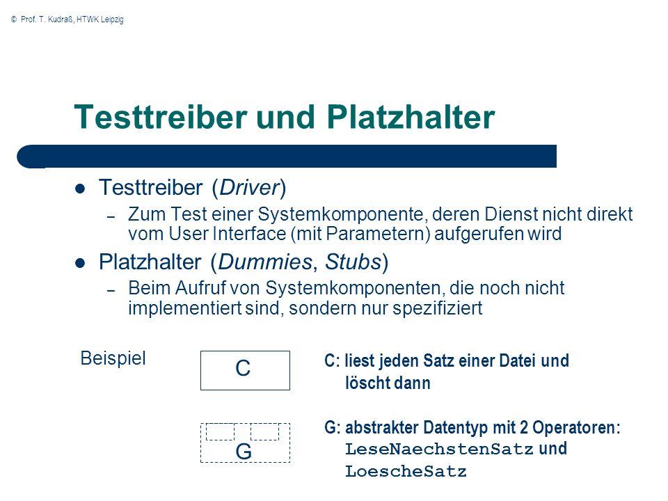 © Prof. T. Kudraß, HTWK Leipzig Testtreiber und Platzhalter Testtreiber (Driver) – Zum Test einer Systemkomponente, deren Dienst nicht direkt vom User
