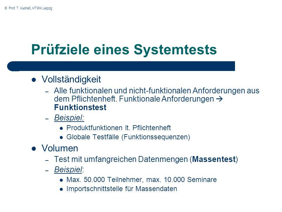 © Prof. T. Kudraß, HTWK Leipzig Prüfziele eines Systemtests Vollständigkeit – Alle funktionalen und nicht-funktionalen Anforderungen aus dem Pflichten