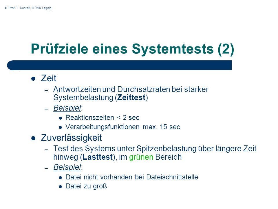 © Prof. T. Kudraß, HTWK Leipzig Prüfziele eines Systemtests (2) Zeit – Antwortzeiten und Durchsatzraten bei starker Systembelastung (Zeittest) – Beisp