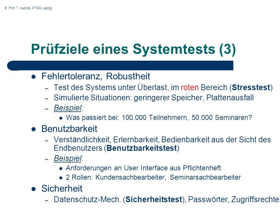 © Prof. T. Kudraß, HTWK Leipzig Prüfziele eines Systemtests (3) Fehlertoleranz, Robustheit – Test des Systems unter Überlast, im roten Bereich (Stress
