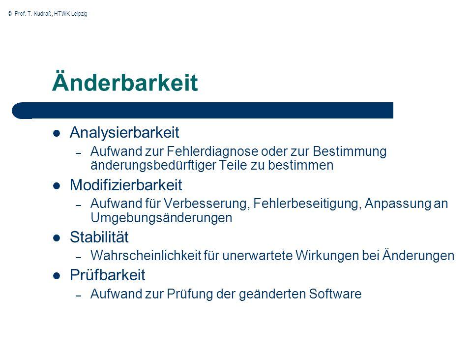 © Prof. T. Kudraß, HTWK Leipzig Änderbarkeit Analysierbarkeit – Aufwand zur Fehlerdiagnose oder zur Bestimmung änderungsbedürftiger Teile zu bestimmen