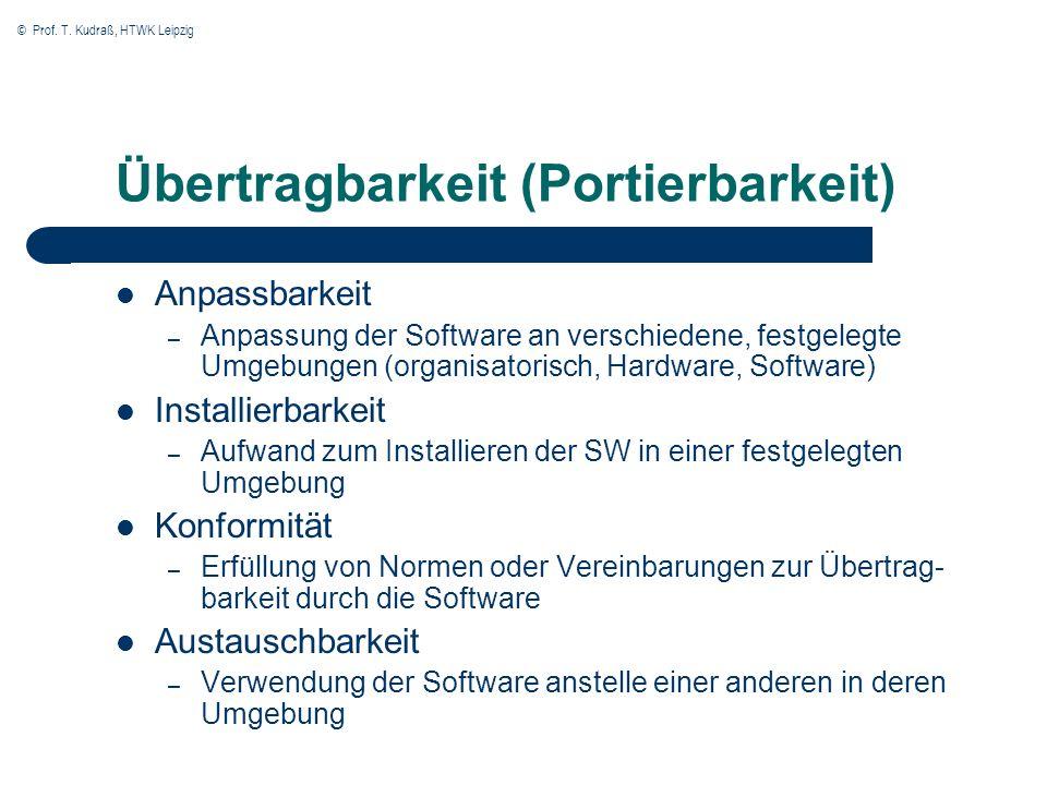 © Prof. T. Kudraß, HTWK Leipzig Übertragbarkeit (Portierbarkeit) Anpassbarkeit – Anpassung der Software an verschiedene, festgelegte Umgebungen (organ