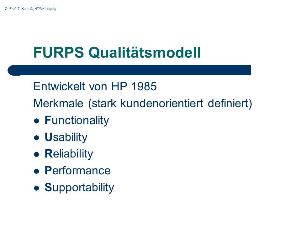 © Prof. T. Kudraß, HTWK Leipzig FURPS Qualitätsmodell Entwickelt von HP 1985 Merkmale (stark kundenorientiert definiert) Functionality Usability Relia