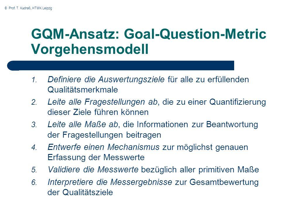 © Prof. T. Kudraß, HTWK Leipzig GQM-Ansatz: Goal-Question-Metric Vorgehensmodell 1. Definiere die Auswertungsziele für alle zu erfüllenden Qualitätsme