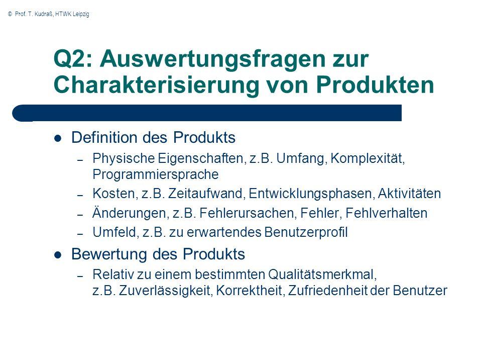 © Prof. T. Kudraß, HTWK Leipzig Q2: Auswertungsfragen zur Charakterisierung von Produkten Definition des Produkts – Physische Eigenschaften, z.B. Umfa