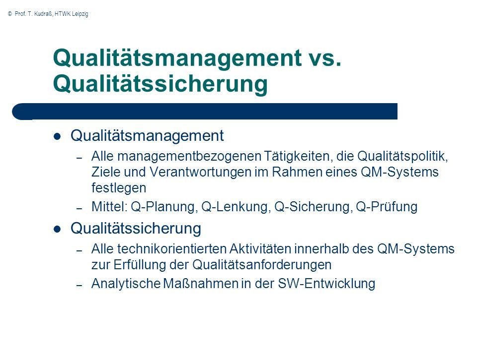 © Prof. T. Kudraß, HTWK Leipzig Qualitätsmanagement vs. Qualitätssicherung Qualitätsmanagement – Alle managementbezogenen Tätigkeiten, die Qualitätspo