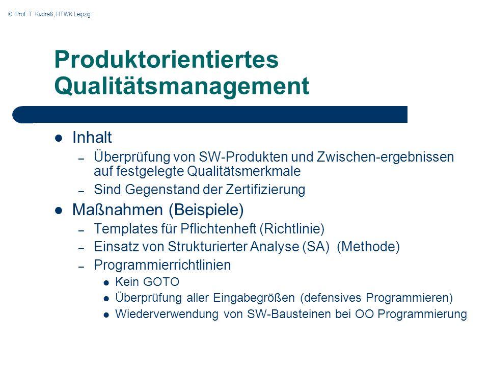 © Prof. T. Kudraß, HTWK Leipzig Produktorientiertes Qualitätsmanagement Inhalt – Überprüfung von SW-Produkten und Zwischen-ergebnissen auf festgelegte