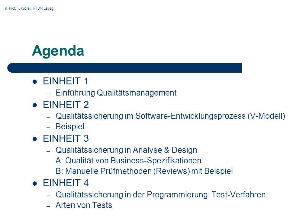 © Prof. T. Kudraß, HTWK Leipzig Agenda EINHEIT 1 – Einführung Qualitätsmanagement EINHEIT 2 – Qualitätssicherung im Software-Entwicklungsprozess (V-Mo