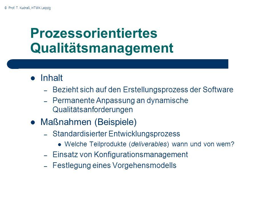© Prof. T. Kudraß, HTWK Leipzig Prozessorientiertes Qualitätsmanagement Inhalt – Bezieht sich auf den Erstellungsprozess der Software – Permanente Anp