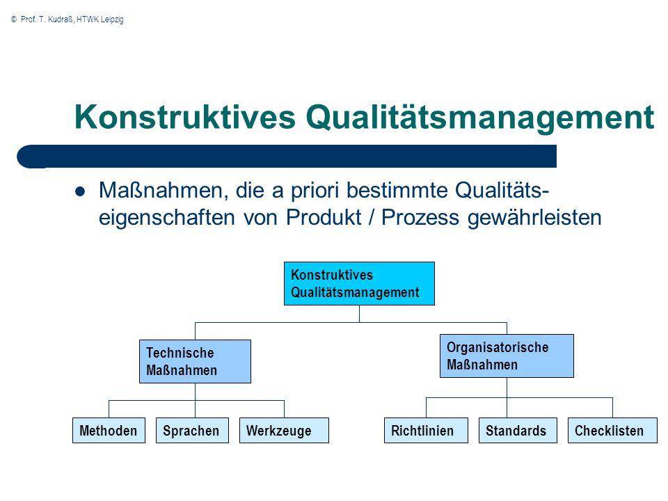 © Prof. T. Kudraß, HTWK Leipzig Konstruktives Qualitätsmanagement Maßnahmen, die a priori bestimmte Qualitäts- eigenschaften von Produkt / Prozess gew