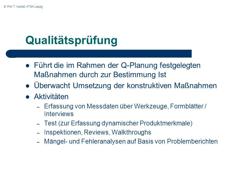 © Prof. T. Kudraß, HTWK Leipzig Qualitätsprüfung Führt die im Rahmen der Q-Planung festgelegten Maßnahmen durch zur Bestimmung Ist Überwacht Umsetzung