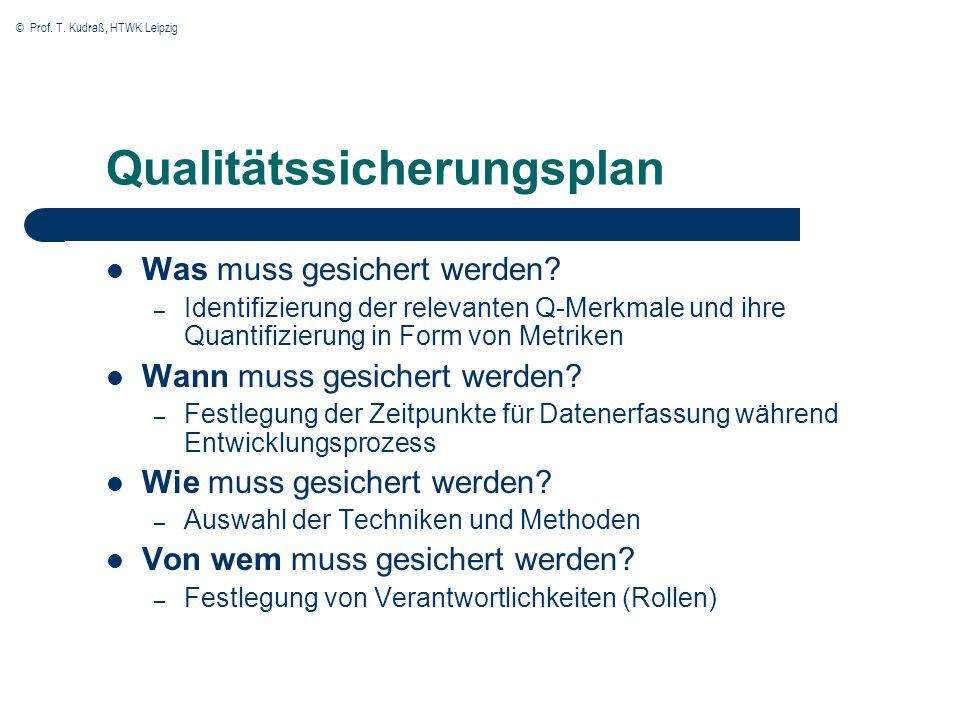 © Prof. T. Kudraß, HTWK Leipzig Qualitätssicherungsplan Was muss gesichert werden? – Identifizierung der relevanten Q-Merkmale und ihre Quantifizierun