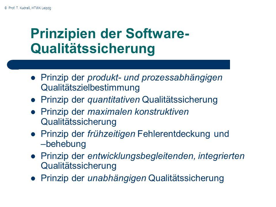© Prof. T. Kudraß, HTWK Leipzig Prinzipien der Software- Qualitätssicherung Prinzip der produkt- und prozessabhängigen Qualitätszielbestimmung Prinzip