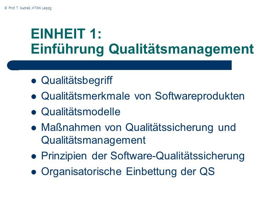 © Prof. T. Kudraß, HTWK Leipzig EINHEIT 1: Einführung Qualitätsmanagement Qualitätsbegriff Qualitätsmerkmale von Softwareprodukten Qualitätsmodelle Ma