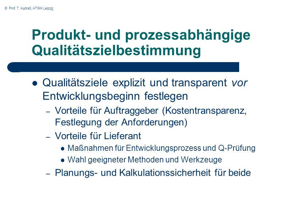 © Prof. T. Kudraß, HTWK Leipzig Produkt- und prozessabhängige Qualitätszielbestimmung Qualitätsziele explizit und transparent vor Entwicklungsbeginn f