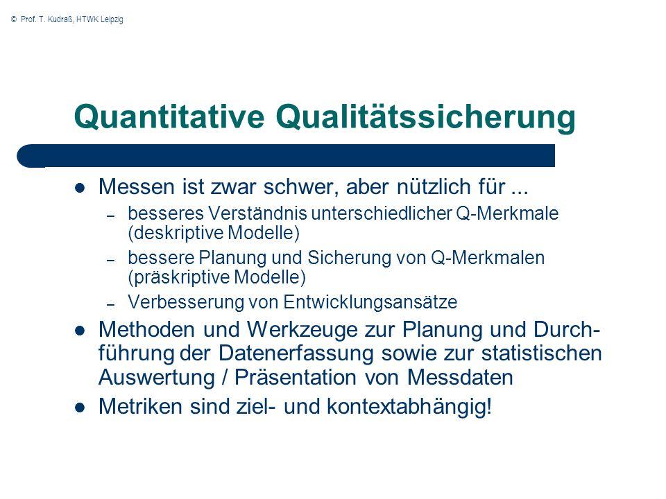 © Prof. T. Kudraß, HTWK Leipzig Quantitative Qualitätssicherung Messen ist zwar schwer, aber nützlich für... – besseres Verständnis unterschiedlicher