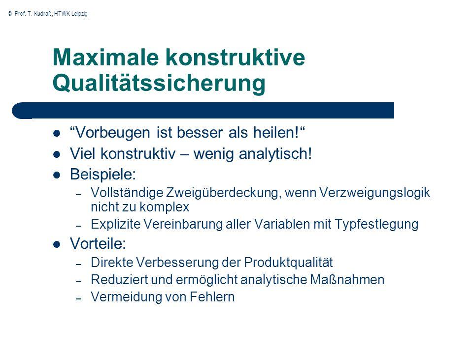 © Prof. T. Kudraß, HTWK Leipzig Maximale konstruktive Qualitätssicherung Vorbeugen ist besser als heilen! Viel konstruktiv – wenig analytisch! Beispie
