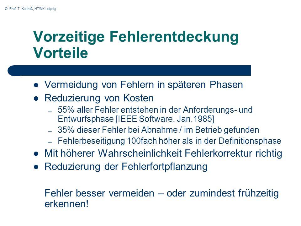 © Prof. T. Kudraß, HTWK Leipzig Vorzeitige Fehlerentdeckung Vorteile Vermeidung von Fehlern in späteren Phasen Reduzierung von Kosten – 55% aller Fehl