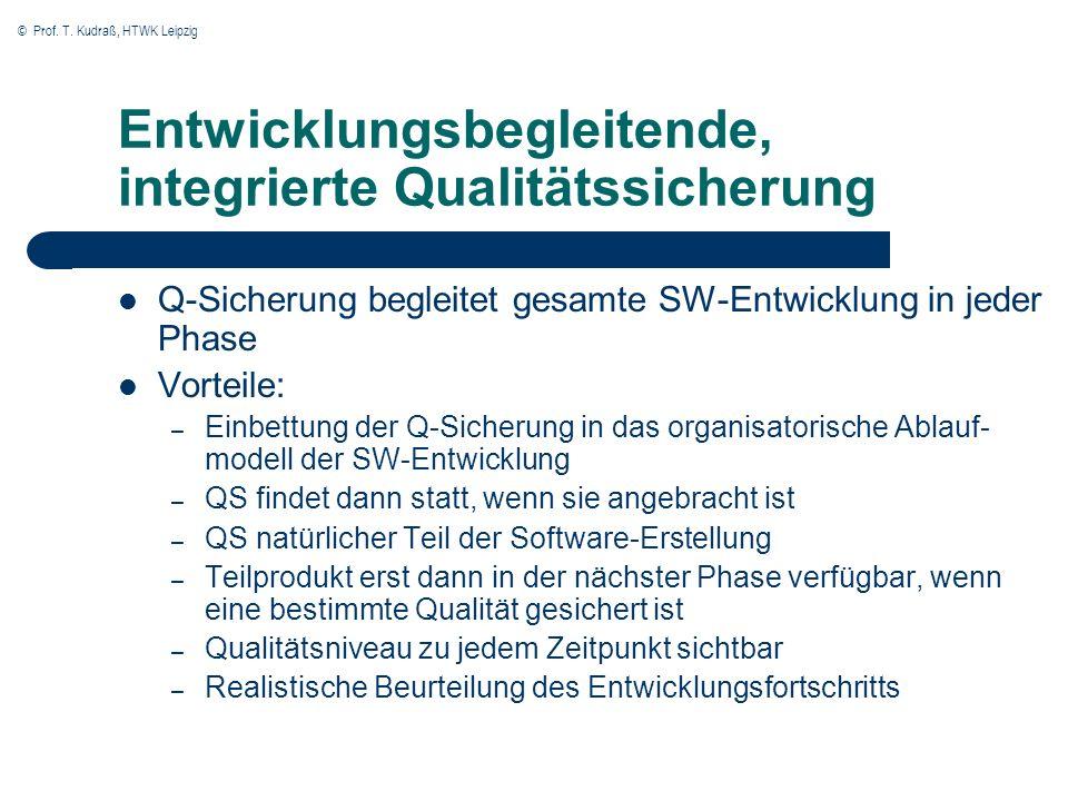 © Prof. T. Kudraß, HTWK Leipzig Entwicklungsbegleitende, integrierte Qualitätssicherung Q-Sicherung begleitet gesamte SW-Entwicklung in jeder Phase Vo