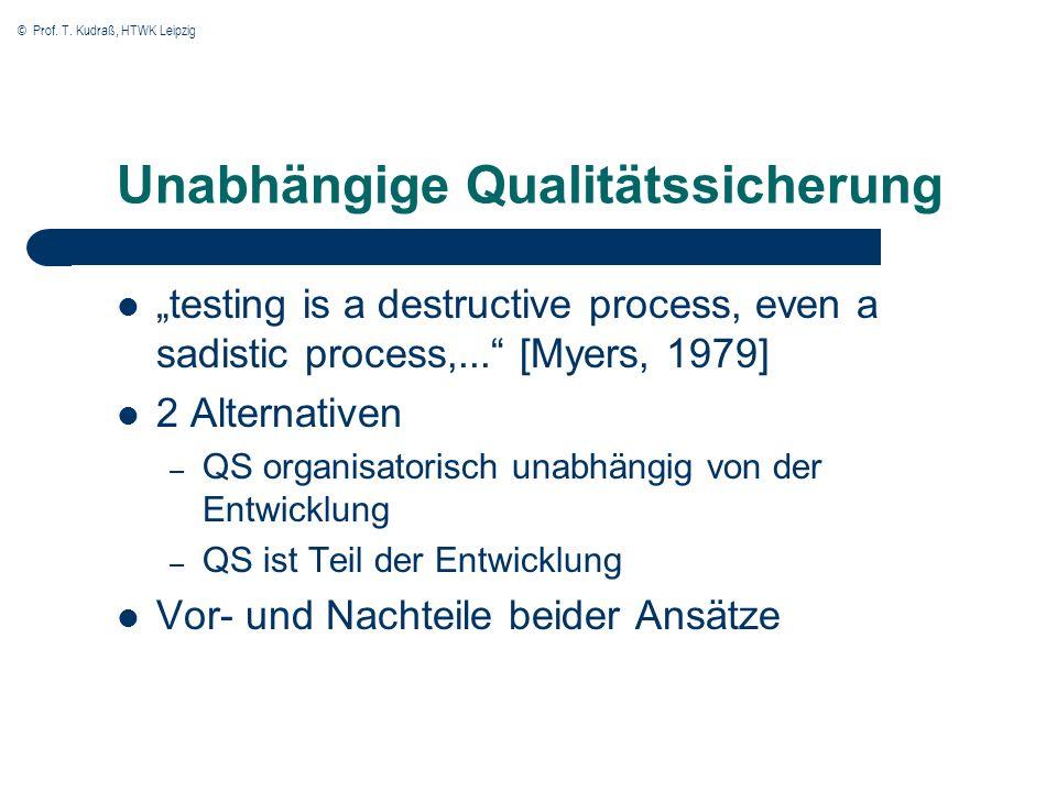 © Prof. T. Kudraß, HTWK Leipzig Unabhängige Qualitätssicherung testing is a destructive process, even a sadistic process,... [Myers, 1979] 2 Alternati