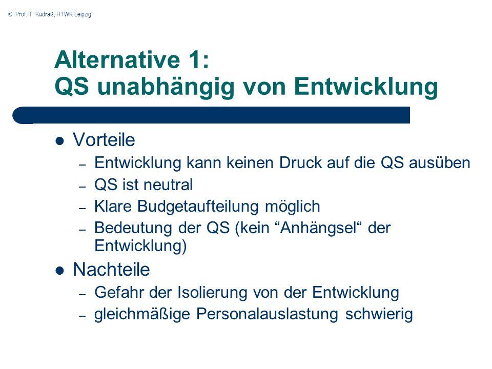 © Prof. T. Kudraß, HTWK Leipzig Alternative 1: QS unabhängig von Entwicklung Vorteile – Entwicklung kann keinen Druck auf die QS ausüben – QS ist neut