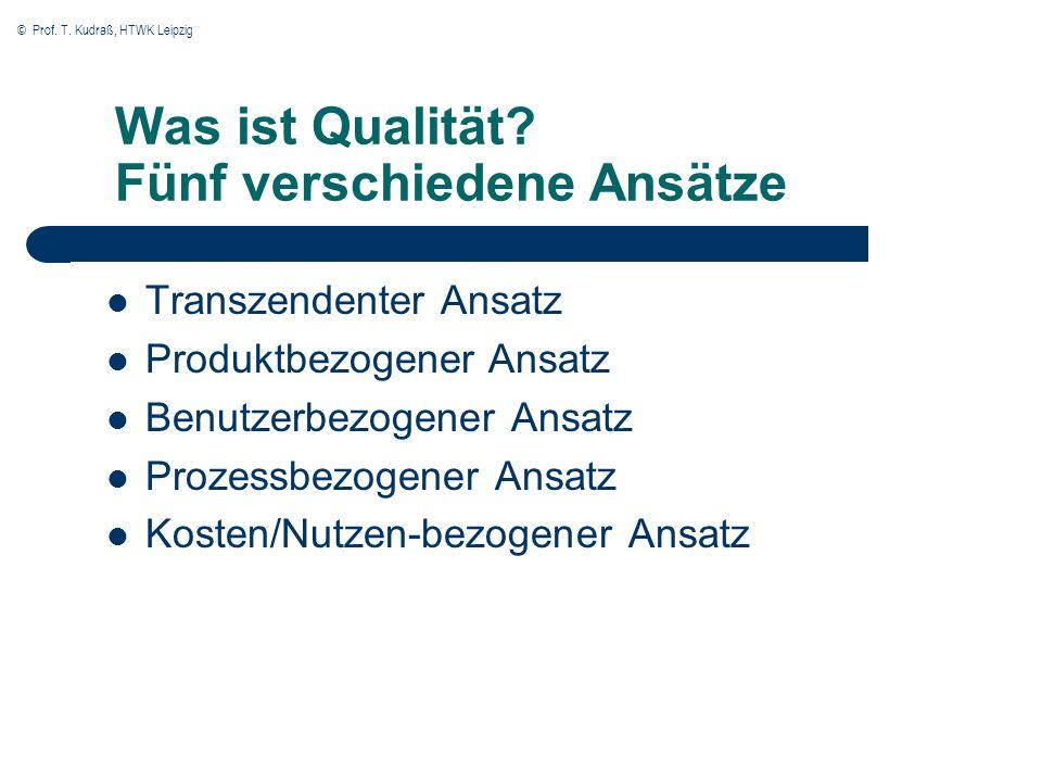 © Prof. T. Kudraß, HTWK Leipzig Was ist Qualität? Fünf verschiedene Ansätze Transzendenter Ansatz Produktbezogener Ansatz Benutzerbezogener Ansatz Pro