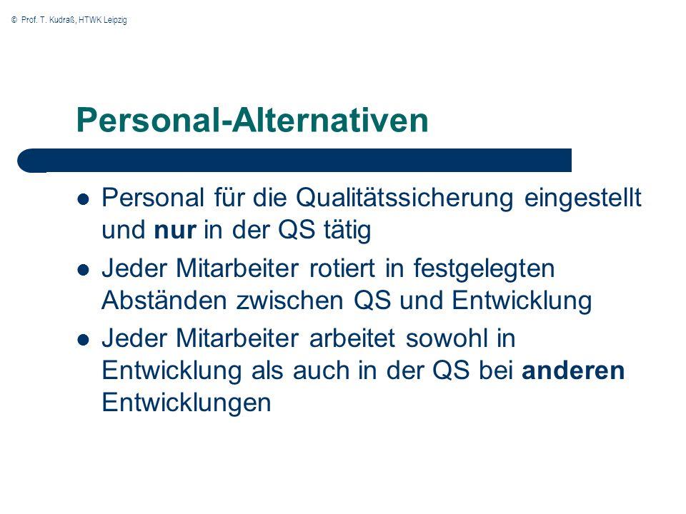 © Prof. T. Kudraß, HTWK Leipzig Personal-Alternativen Personal für die Qualitätssicherung eingestellt und nur in der QS tätig Jeder Mitarbeiter rotier