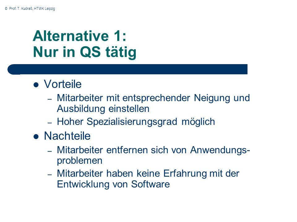 © Prof. T. Kudraß, HTWK Leipzig Alternative 1: Nur in QS tätig Vorteile – Mitarbeiter mit entsprechender Neigung und Ausbildung einstellen – Hoher Spe