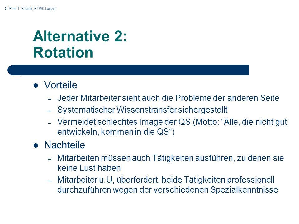 © Prof. T. Kudraß, HTWK Leipzig Alternative 2: Rotation Vorteile – Jeder Mitarbeiter sieht auch die Probleme der anderen Seite – Systematischer Wissen