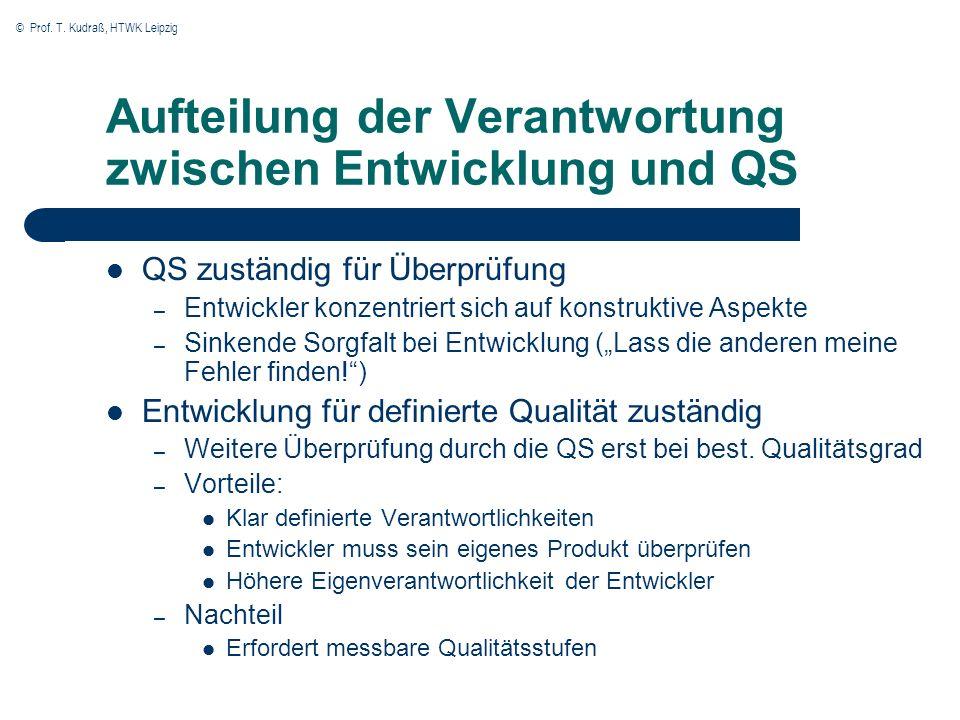 © Prof. T. Kudraß, HTWK Leipzig Aufteilung der Verantwortung zwischen Entwicklung und QS QS zuständig für Überprüfung – Entwickler konzentriert sich a