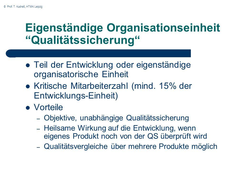 © Prof. T. Kudraß, HTWK Leipzig Eigenständige Organisationseinheit Qualitätssicherung Teil der Entwicklung oder eigenständige organisatorische Einheit