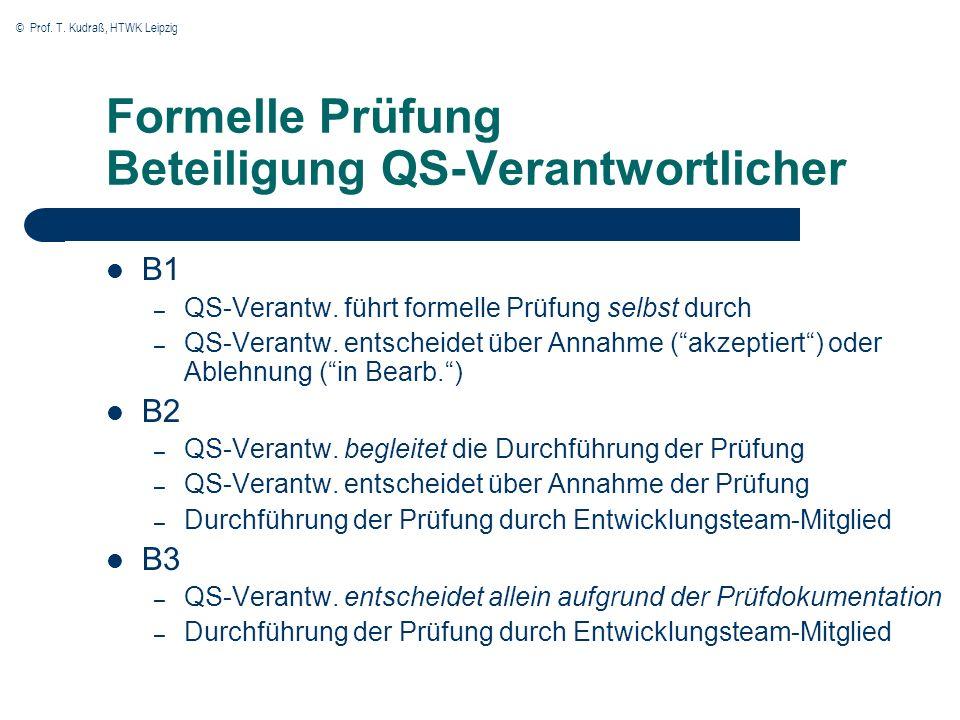 © Prof. T. Kudraß, HTWK Leipzig Formelle Prüfung Beteiligung QS-Verantwortlicher B1 – QS-Verantw. führt formelle Prüfung selbst durch – QS-Verantw. en