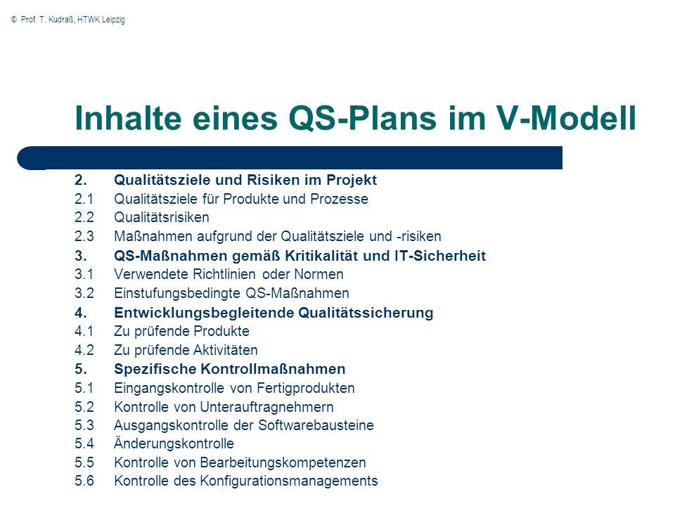© Prof. T. Kudraß, HTWK Leipzig Inhalte eines QS-Plans im V-Modell 2.Qualitätsziele und Risiken im Projekt 2.1 Qualitätsziele für Produkte und Prozess