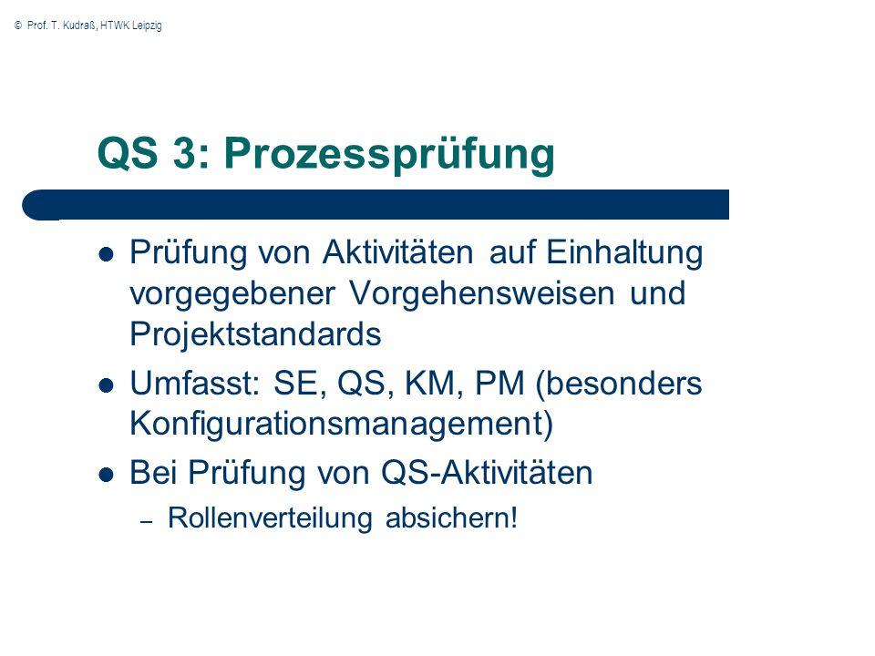 © Prof. T. Kudraß, HTWK Leipzig QS 3: Prozessprüfung Prüfung von Aktivitäten auf Einhaltung vorgegebener Vorgehensweisen und Projektstandards Umfasst: