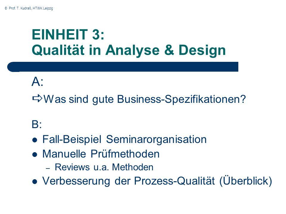 © Prof. T. Kudraß, HTWK Leipzig EINHEIT 3: Qualität in Analyse & Design A: Was sind gute Business-Spezifikationen? B: Fall-Beispiel Seminarorganisatio